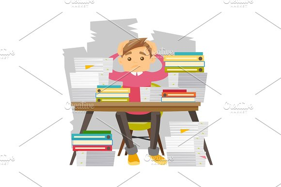 Young despair office worker with heaps of papers.