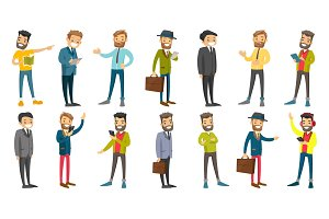 Caucasian businessman vector illustrations set.