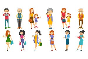 Caucasian white people vector illustrations set.