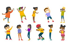 Multiracial children vector illustrations set.