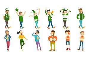 Caucasian sport fans vector illustrations set.