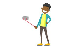 African-american teenager boy taking selfie photo.