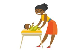 Young african-american mother taking care of baby.