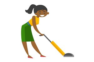 Young african woman cleaning with vacuum cleaner.