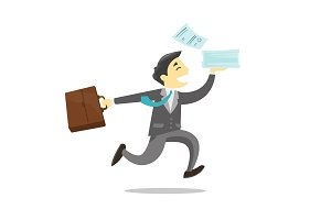 Businessman running with briefcase and documents.