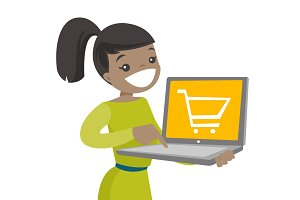 Woman holding using computer for shopping online.