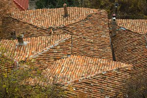 Background of old roof tiles with roof roofs