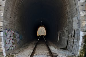 Tunnels and railways. Light on the end of the tunnel