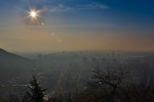 Big city in misty sunrise, Plovdiv, Bulgaria