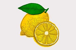 Lemon Watercolor Woodcut