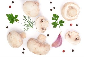 mushrooms with onion garlic parsley leaf dill and peppercorns isolated on white background. top view