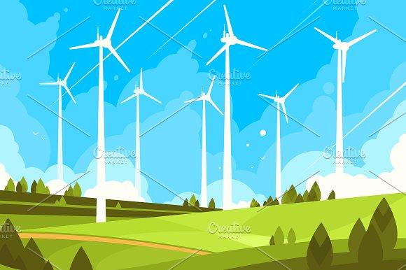 Windmills on green fields