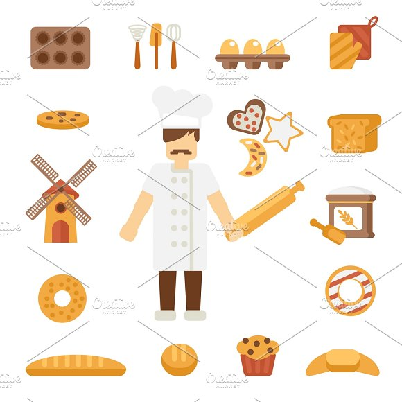 Baker icons flat in Graphics