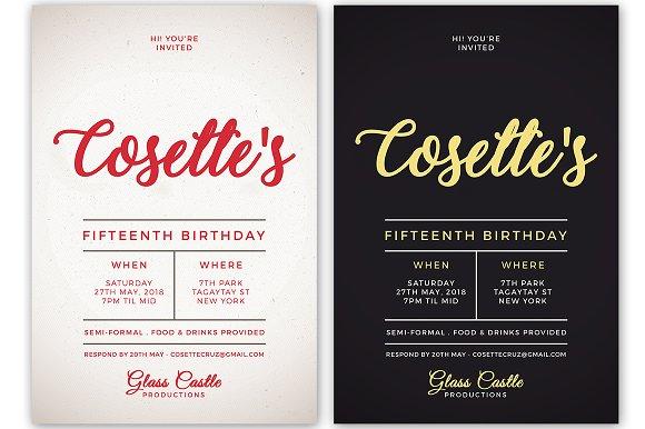 simple birthday invitation invitation templates creative market