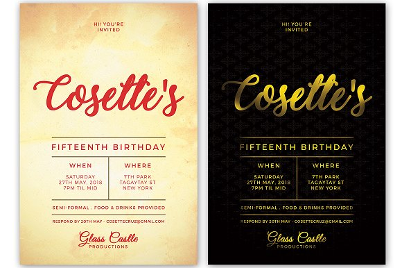 Simple Birthday Invitation in Postcard Templates - product preview 1