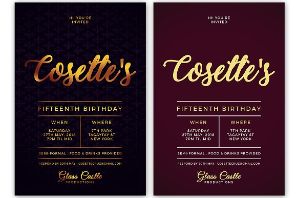 Simple Birthday Invitation in Postcard Templates - product preview 3