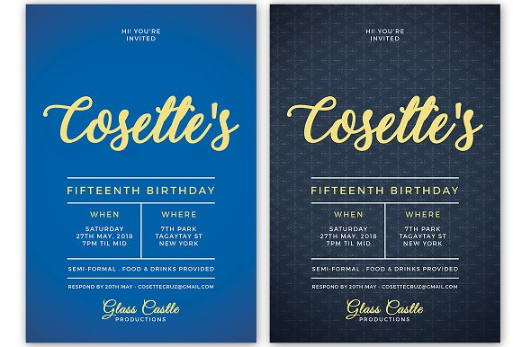 Simple Birthday Invitation in Postcard Templates - product preview 5