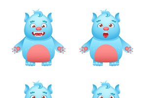 Cute monster icons set