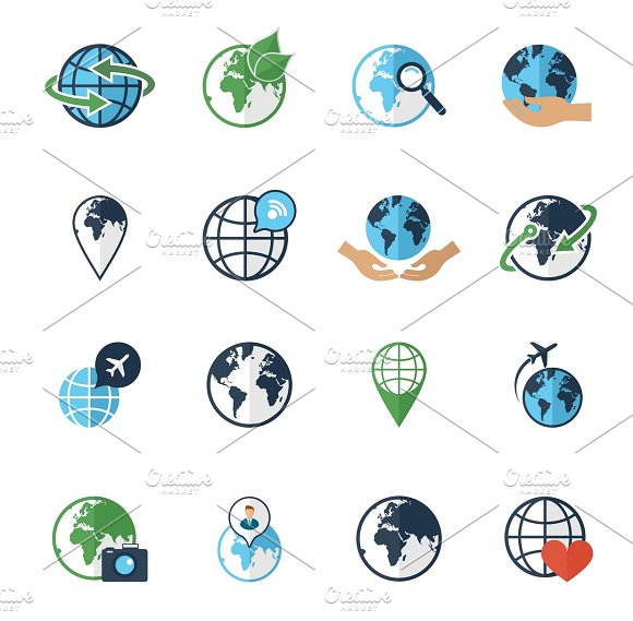Globe earth flat icons set