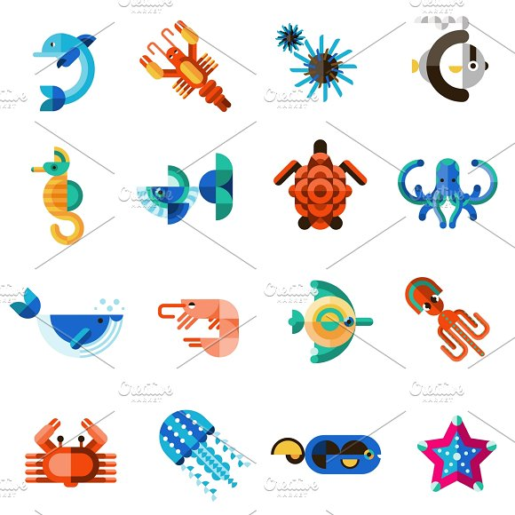 Sea creatures set in Graphics