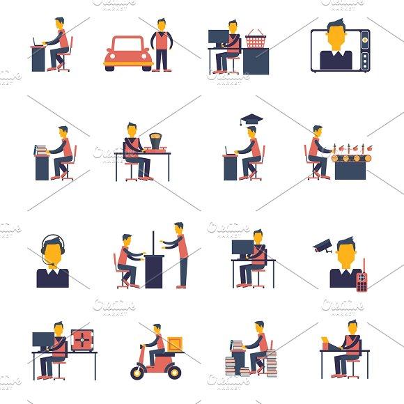 Sedentary icon flat set