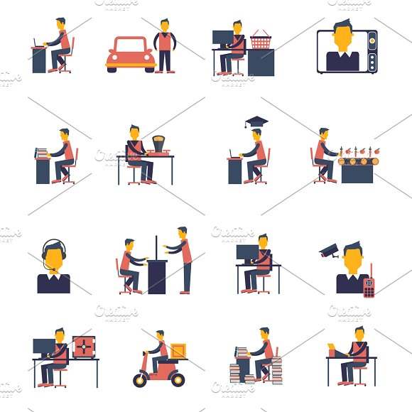 Sedentary icon flat set in Graphics