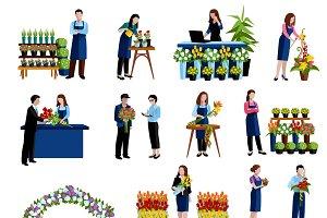 Florists arranging cut flowers icons