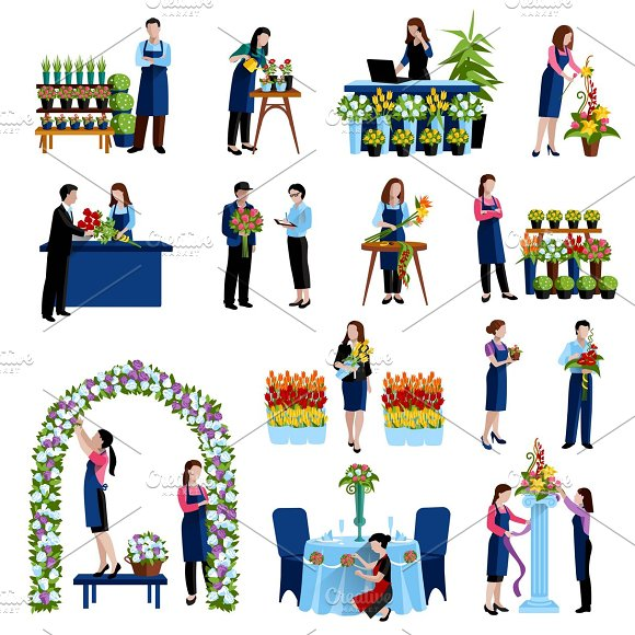 Florists arranging cut flowers icons in Icons