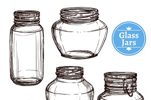 Hand drawn glass jars set