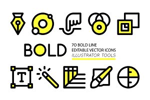 BOLD Adobe Illustrator tool icons
