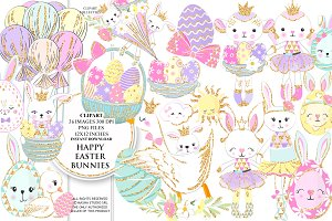 HAPPY EASTER BUNNIES clipart