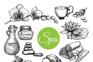 Hand drawn spa treatment set