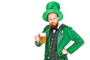 bearded man in green costume