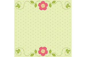 Cute retro spring card as patch fabric applique of flowers