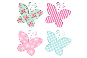 Cute primitive retro butterflies as textile patch applique