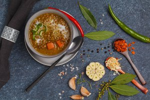 Indian vegetarian soup mung dahl