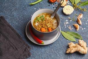 Indian vegetarian soup mung dahl