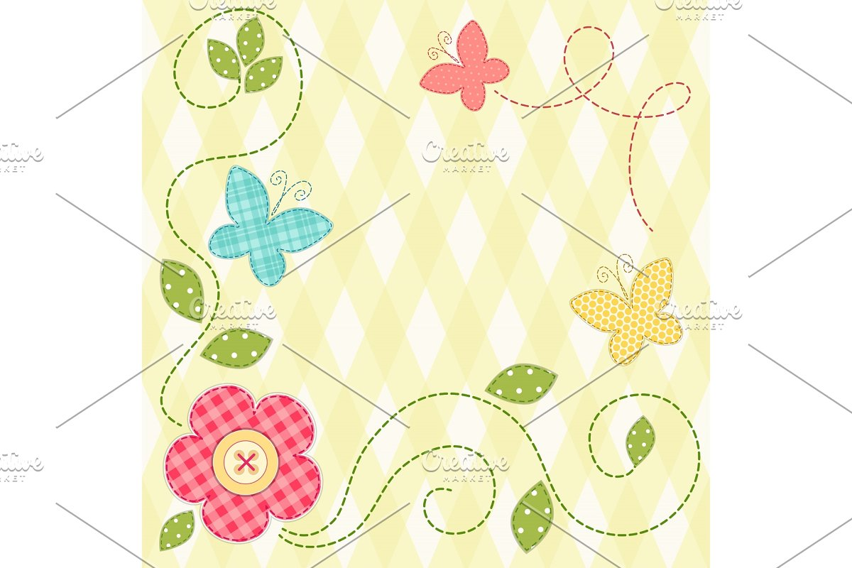Cute retro spring card as patch fabric applique of flowers and butterflies