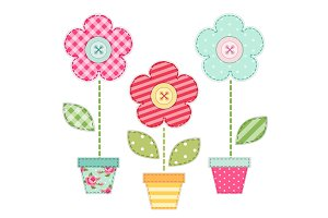 Cute retro spring and garden elements as fabric patch applique of flowers in pots