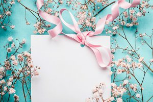 Greeting card with pink ribbon