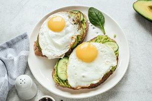 Breakfast toast with egg n avocado