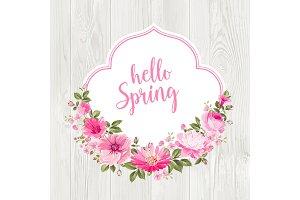 Hello spring card over gray wooden texture.