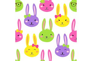 Cute bright Easter seamless pattern design with funny cartoon characters of bunnies