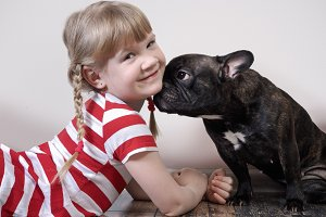 Very funny dog and a little girl