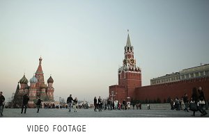 People walking in Red square Moscow