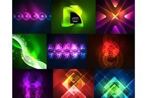 Neon geometric shapes - triangles and waves, modern backgrounds