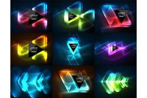Neon geometric shapes - triangles