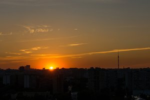 Silhouette of Moscow at sunset