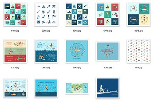 Vector bundle 16 fishing icons set