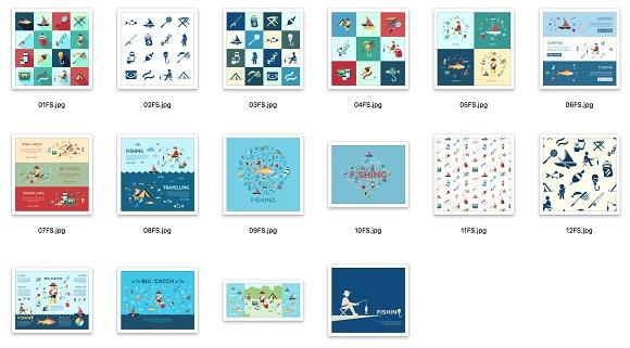 Vector bundle 16 fishing icons set